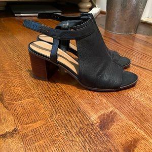Franco Sarto Black Leather Heeled Sandals Size 9
